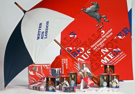 Hier werden die Merchandise-Artikel Landesausstellung Niedersachsen 2014 gezeigt