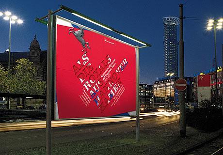 Hier wird das Großflächenplakat zur Landesausstellung 2014 gezeigt